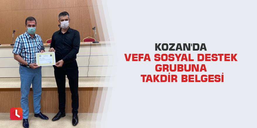 Kozan'da Vefa Sosyal Destek Grubuna takdir belgesi