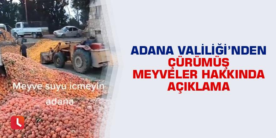 Adana Valiliği'nden çürümüş meyveler hakkında açıklama