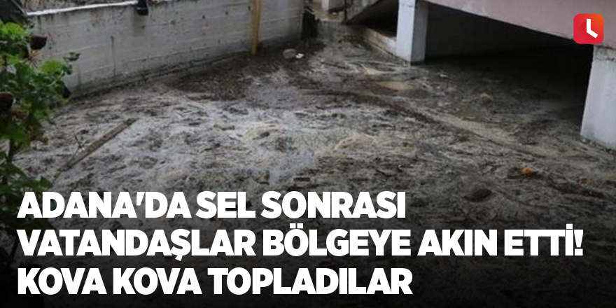 Adana'da sel sonrası vatandaşlar bölgeye akın etti! Kova kova topladılar