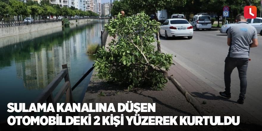 Sulama kanalına düşen otomobildeki 2 kişi yüzerek kurtuldu