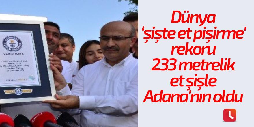 Dünya 'şişte et pişirme' rekoru 233 metrelik et şişle Adana'nın oldu