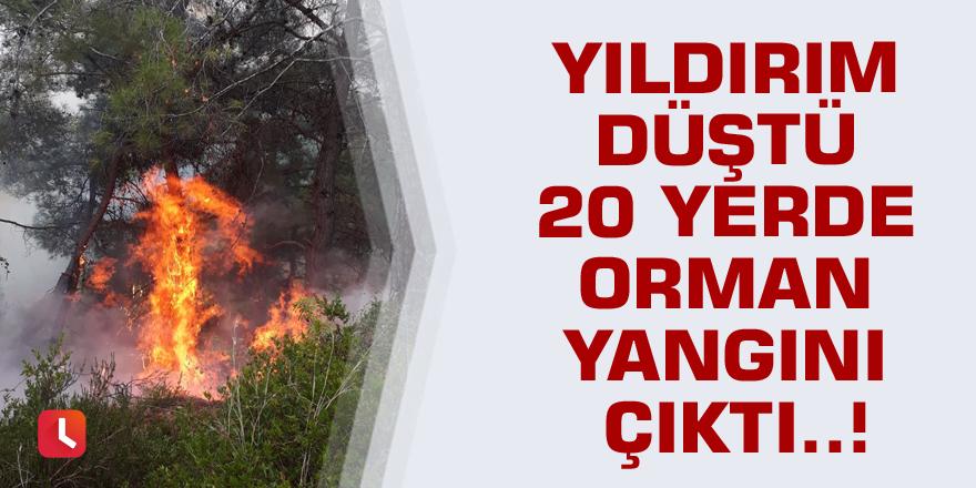 Yıldırım düştü 20 yerde orman yangını çıktı..!