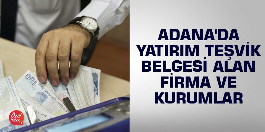 Adana'da yatırım teşvik belgesi alan firma ve kurumlar