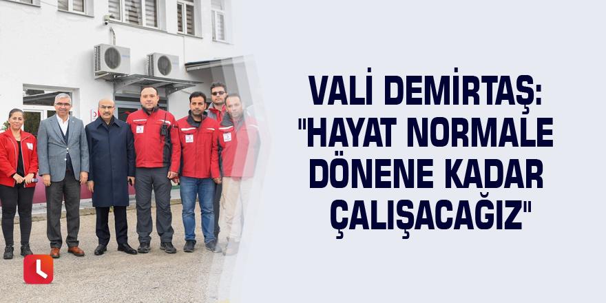 """Vali Demirtaş: """"Hayat normale dönene kadar çalışacağız"""""""