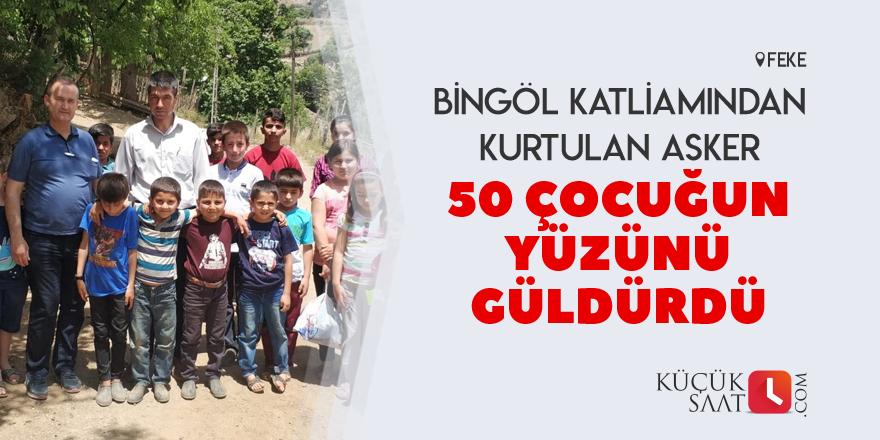 50 çocuğun yüzünü güldüren asker